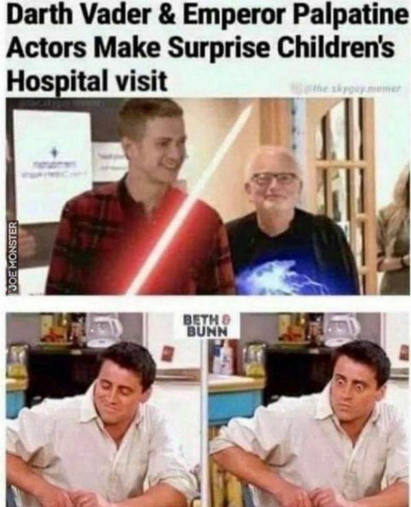 darth vader emperor palpatine actors make surprise children's hospital visit