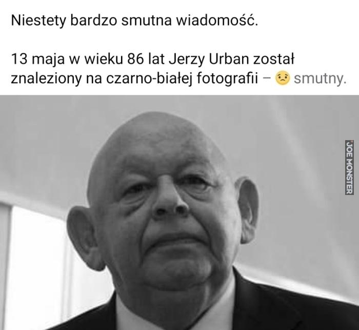 13 maja w wieku 86 lat jerzy urban został znaleziony na czarno-białej fotografii