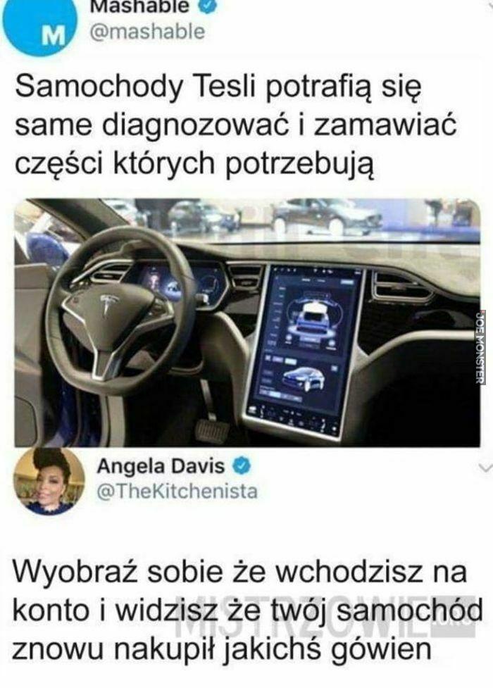 samochody tesli potrafią się same diagnozować