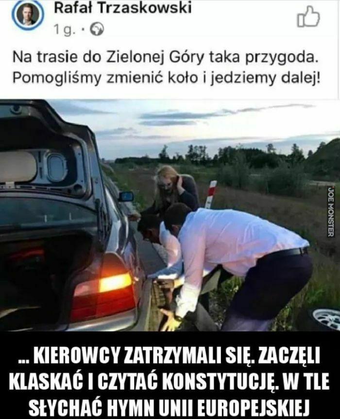 rafał trzaskowski na trasie do zielonej góry