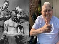 """Weteran spadochroniarz z czasów D-Day, Guy Whidden, którego uwieczniono na słynnym zdjęciu podczas ścinania na """"mohawka"""" uznał, że niezależnie od wieku to jest świetna fryzura"""