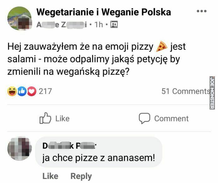 hej zauważyłem że na emoji pizzy jest salami