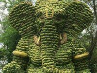 Statua hinduskiego boga Ganeshy w całości zrobiona z bananów