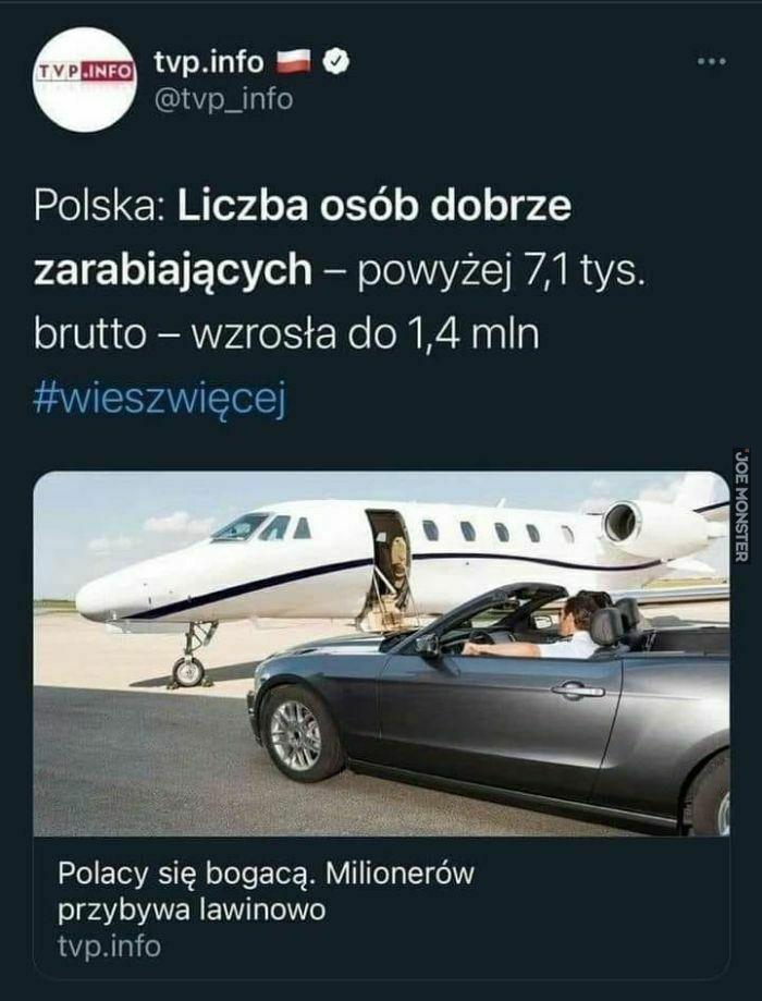 polska:liczba osób dobrze zarabiających