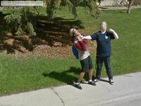 Ja i mój przyjaciel złapani przez Google Maps, około 2013 roku