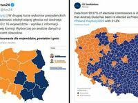 Po lewej poparcie w województwach, po prawej - w powiatach