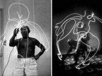 Pablo Picasso malujący światłem, 1949