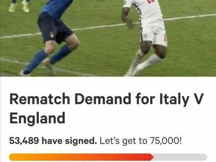 Kibice angielscy podpisują petycję o powtórzenie meczu z Włochami