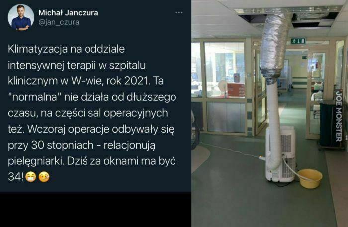 klimatyzacja na oddziale intensywnej terapii w szpitalu