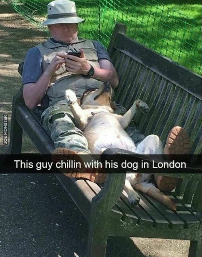 this guy chillin with his dog