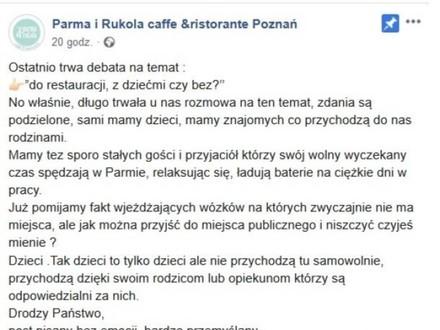 Poznańska restauracja nie chce u siebie dzieci
