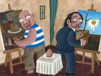 Picasso i Dali malują jajko