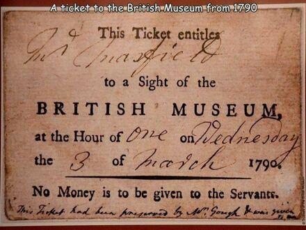 Bilet do Brytyjskiego Muzeum z 1790 roku