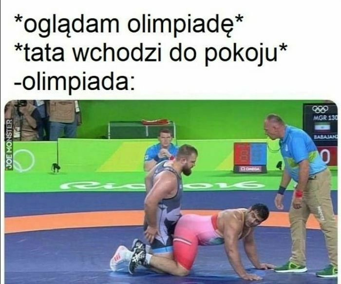 oglądam olimpiadę tata wchodzi do pokoju