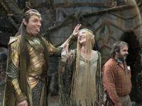 """Hugo Weaving, Cate Blanchett i Peter Jackson na planie """"Władcy pierścieni"""""""