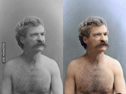 Koloryzowane zdjęcie Marka Twaina bez koszulki, 1883 rok