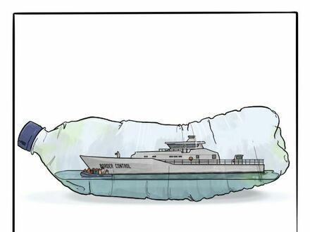 Współczesny statek w butelce