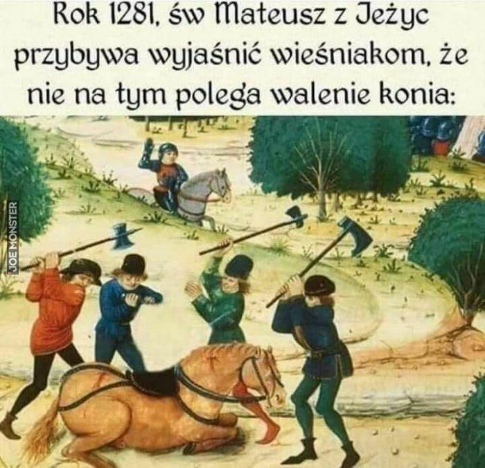 rok 1281 św mateusz z jeżyc przybywa wyjaśnić wieśniakom że nie na tym polega walenie konia