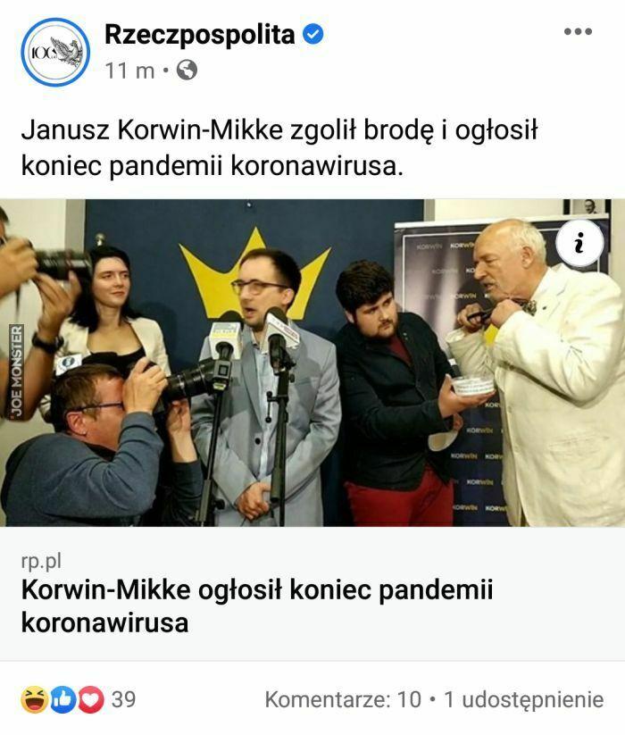 janusz korwin-mikke zgolił brodę