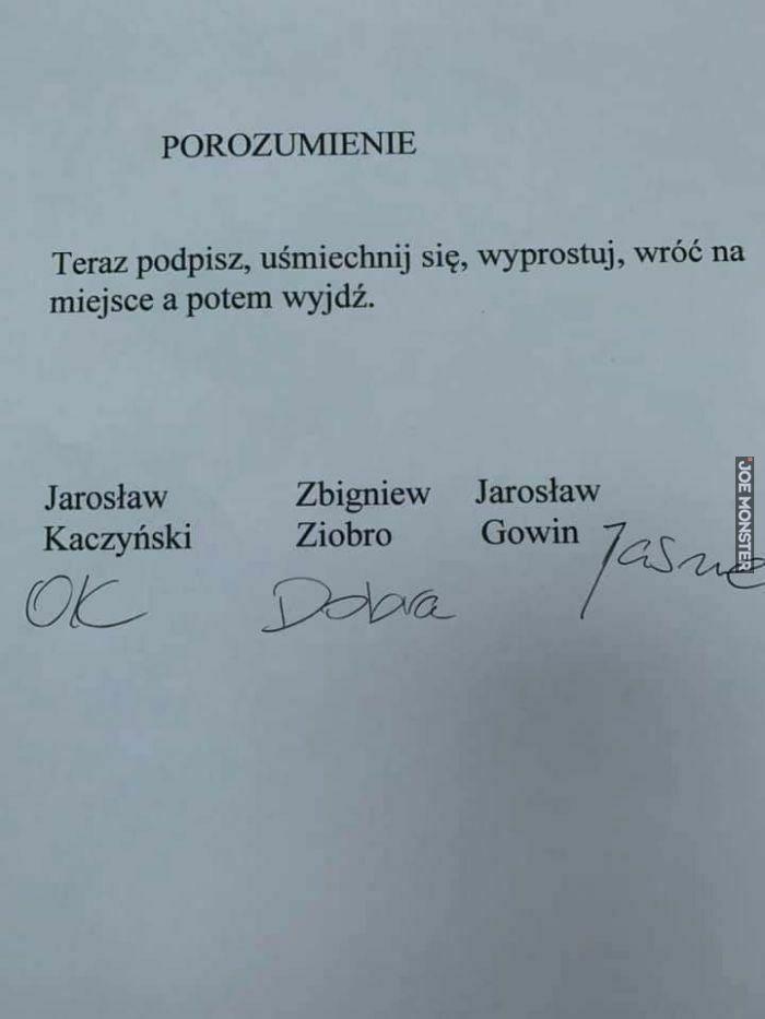 porozumienie teraz podpisz uśmiechnij się