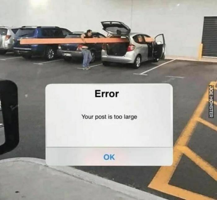 error your post is too large