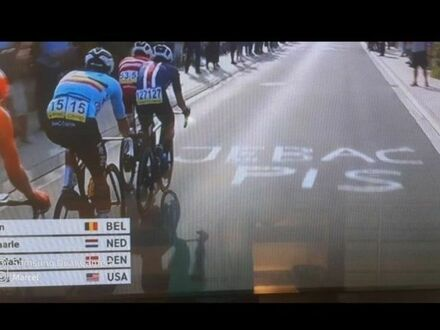 Kadr z mistrzostw świata w kolarstwie w Belgii