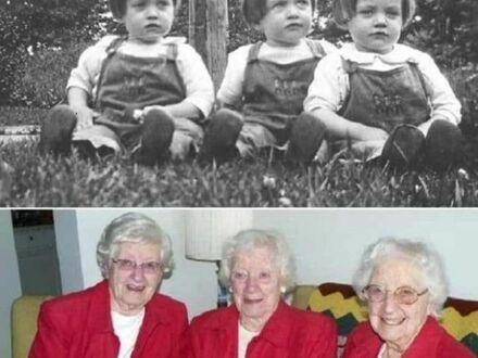 Siostry trojaczki świętujące swoje 80 urodziny