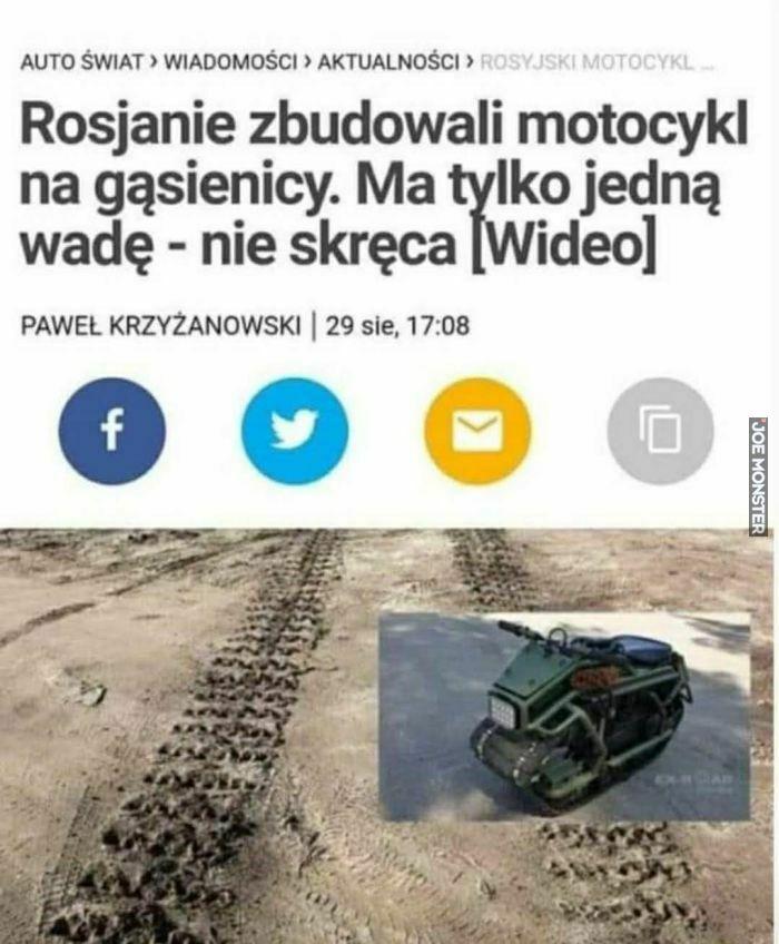 rosjanie zbudowali motocykl na gąsienicy