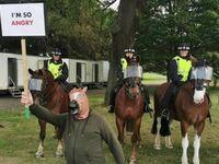 Protest koni policyjnych