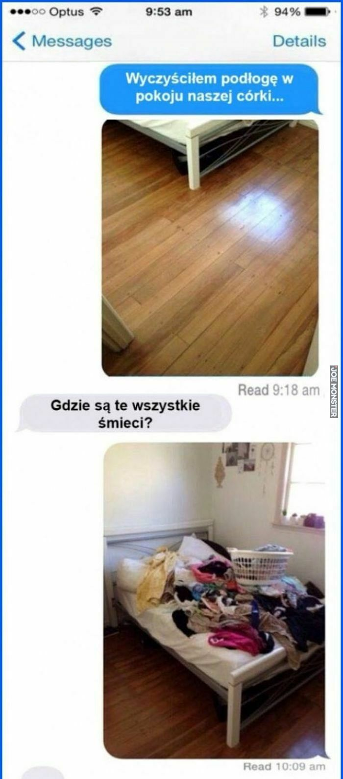 wyczyściłem podłogę w pokoju naszej córki