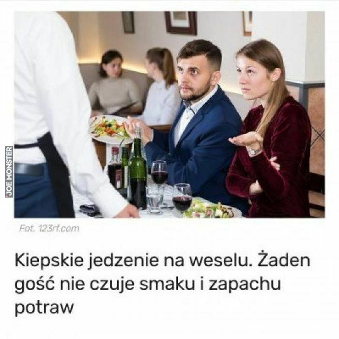 kiepskie jedzenie na weselu