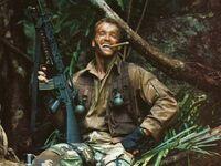 Arnold Schwarzenegger podczas kręcenia Predatora w 1986