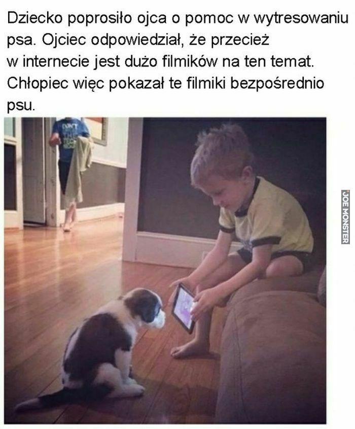 dziecko poprosiło ojca o pomoc w wytresowaniu psa