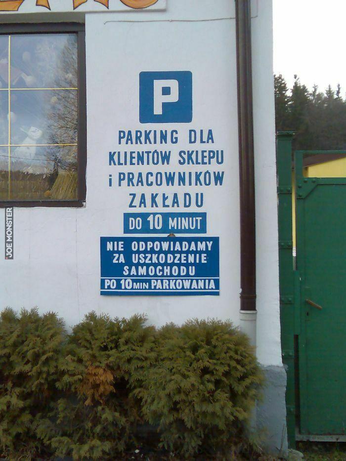 parking dla klientów sklepu i pracowników zakładu