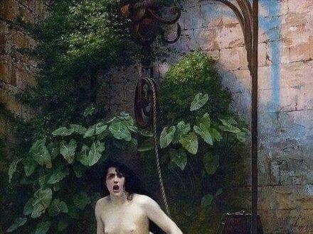 """Słynny obraz """"Prawda wyłaniająca się ze studni"""" autorstwa Jean-Léon Gérôme, 1896 r."""
