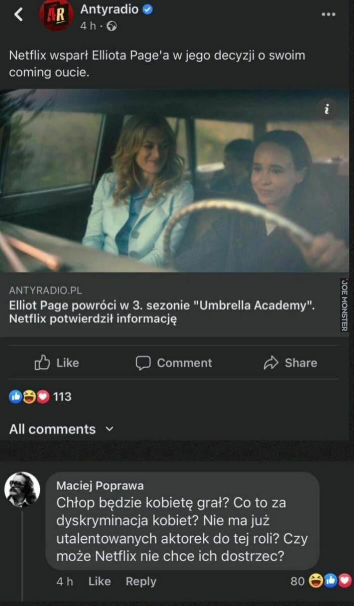 Dyskryminacja w wykonaniu Elliota Page'a