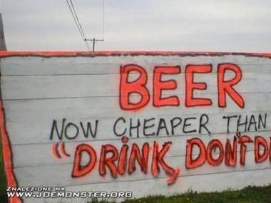Piwo tańsze od benzyny...