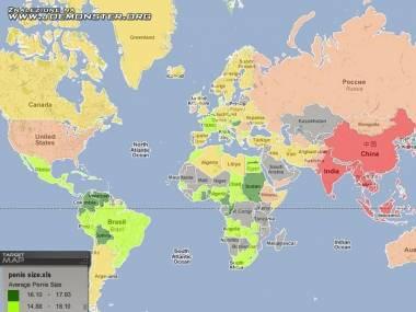 Mapa średnich rozmiarów penisów?