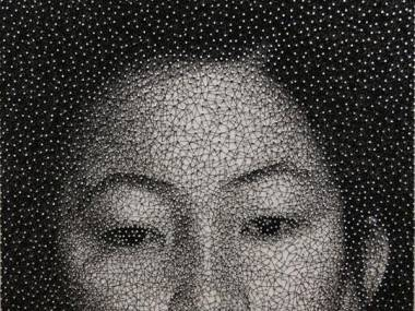 Portret wykonany za pomocą jednej nici owijanej dookoła tysięcy gwoździ