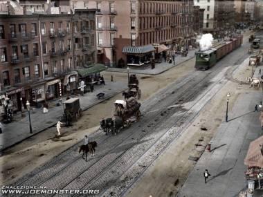 11th Avenue Nowy Jork - pokolorowana fotografia z 1909 roku