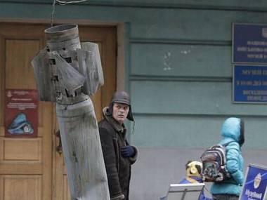 Rakieta wystrzelona przez separatystów, która nie eksplodowała. Przewieziona do Kijowa, służy jako pomnik