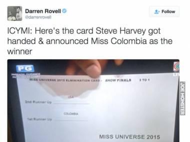 To kartka z której Steve Harvey omyłkowo ogłosił, że Miss Universe została Miss Kolumbii