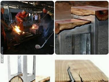 Ciekle aluminium wtopione w drewno