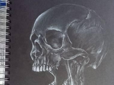 Rysunek czaszki wykonany ołówkiem