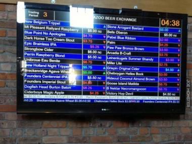 Giełda piwna w barze w Michigan - ceny piwa wahają się w zależności od popularności