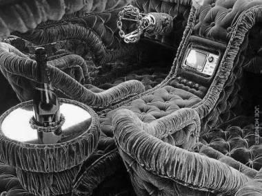 Na pierwszy rzut oka zdjęcie z mikroskopu, ale to czarno-białe wnętrze samochodu jakiegoś Rosjanina