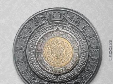 Jeśli połączymy 1, 2, 5 i 10 pesos dostaniemy aztecki kalendarz