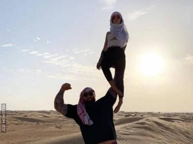 Góra na wakacjach z żoną