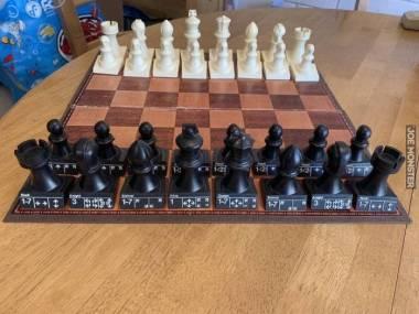 Bierki szachowe z opisanymi ruchami jakie mogą wykonać dla ułatwienia osobom, które dopiero uczą się grać