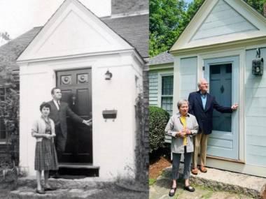 Małżeństwo przed drzwiami swojego pierwszego domu w 1963 roku i dziś